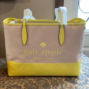 Kate Spade canvas side snap street tote limelight